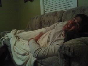 My Dewzy snuggled up on the sofa.